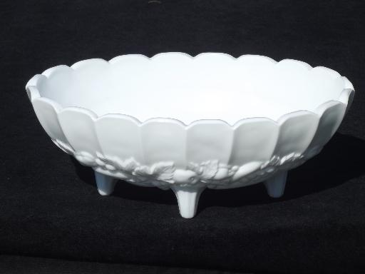 Fruit garland vintage indiana milk glass oval centerpiece