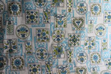 full bolt 18 yards cottage style vintage cotton fabric, avocado green & blue print folk art