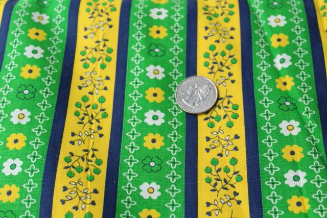full bolt 18 yards vintage print cotton fabric, preppy green yellow navy flowered stripe