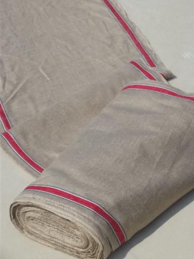 full bolt vintage natural flax linen towel / runner fabric, red & blue stripe