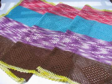 funky bright colored patchwork crochet cotton lace table runner, 1960s vintage