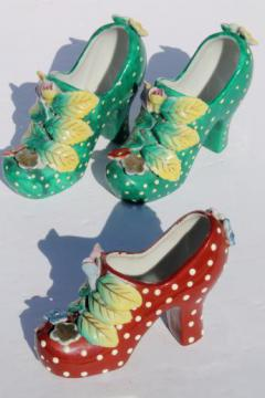 funky retro high heels shoe plant vases, vintage Japan painted polka dot pumps!