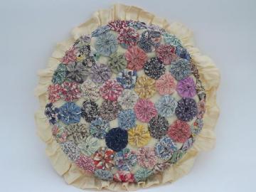 funky retro yoyo patchwork throw pillow, all vintage cotton prints