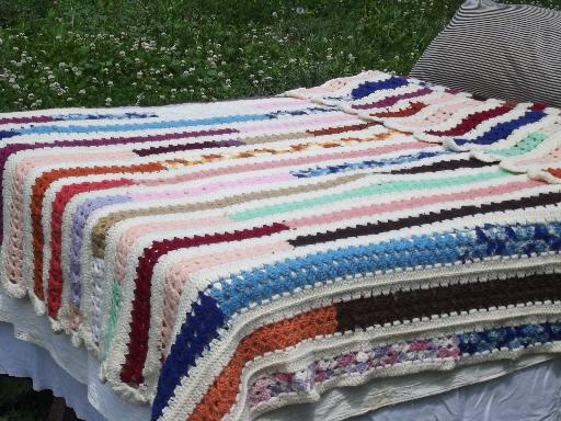 funky stripes retro patchwork scrap yarn crochet afghan, 70s 80s vintage