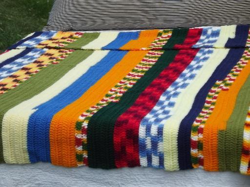 Funky Stripes Retro Patchwork Scrap Yarn Crochet Afghan