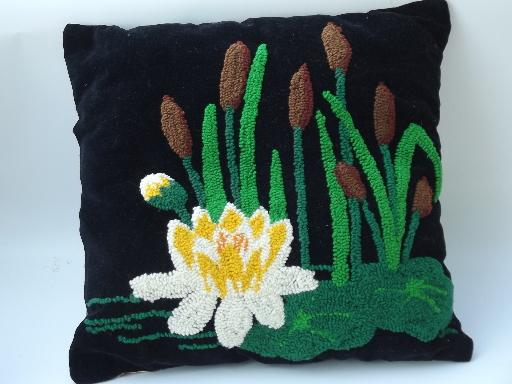 funky vintage black cotton velvet pillow, chenille water lily, cat tails