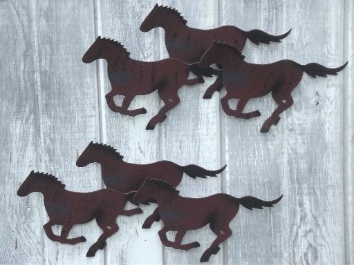 Metal Horse Wall Art horses rustic metal horse wall art plaques, shelf & metal statue