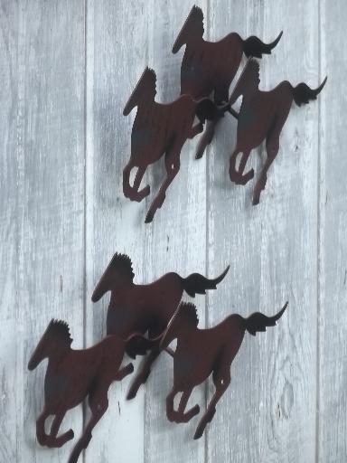 galloping horses rustic metal horse wall art plaques, shelf & metal statue