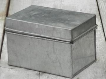 galvanized zinc file box, vintage industrial style card files box