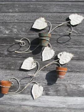 garden wall or fence hangers for flower pots, vintage brackets w/ metal leaves