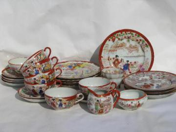 geisha girl china, vintage hand-painted Japan porcelain plates, cup & saucer sets