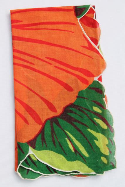 giant hibiscus vintage printed cotton hanky, hawaiian luau tiki tropical flower