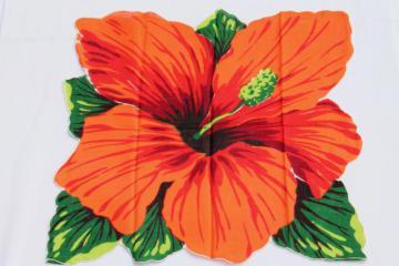 giant hibiscus vintage printed cotton hanky, hawaiian luau tiki tropical flower