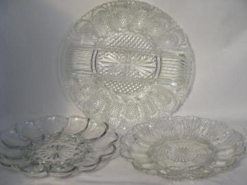 glass egg plate lot, pressed pattern glass divided plates for deviled eggs