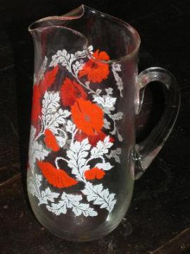 glass ice tea pitcher red poppies