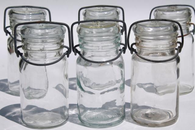 glass / wire bail lid spice or herbs jars, small clear glass canister bottles set of six