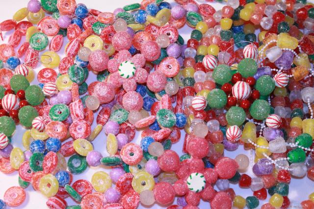Candy Christmas Tree Decorations.Glitter Plastic Candy Christmas Garland Stars Kitschy