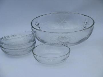 glory star pattern vintage wheel cut Lotus glass salad or fruit bowls set