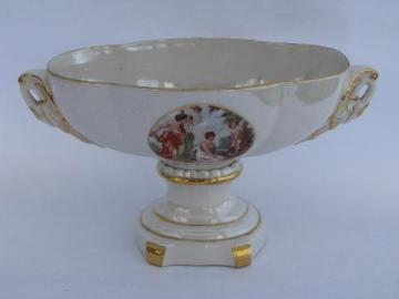 goddesses & cupid 1940s - 50s vintage china flower urn, mantel or console bowl