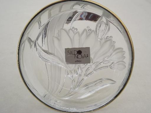 gold french iris mikasa studio nova japan crystal dish
