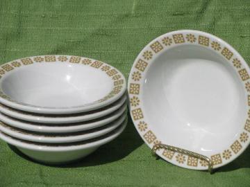 gold flower Shenango restaurantware, 6 heavy china soup / chili bowls