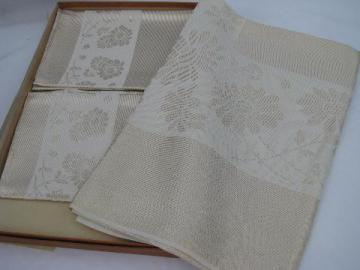 gold / ivory rayon roses 1940s vintage damask tablecloth & napkins set, mint in original box