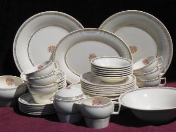 gold laurel floral vintage American Limoges china dishes set for 6