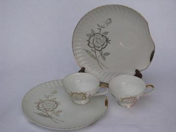 gold roses on pure white porcelain, vintage Japan china snack sets