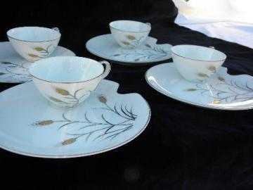 gold & silver wheat, vintage Norcrest - china snack sets, set for four, cups & plates