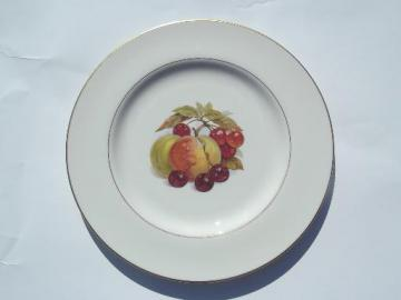 gold trimmed Pickard china plate, vintage harvest fruit on white