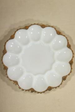 gold trimmed milk glass egg plate, serving tray for deviled eggs, vintage Anchor Hocking
