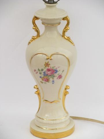 Gold Trimmed Pink Cabbage Roses China Table Lamp 1940s