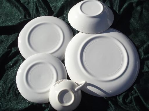 gold wheat vintage USA pottery dinnerware, retro 50s china set for 6