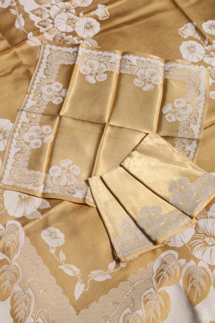 gold u0026 white floral satin damask table linens vintage tablecloth u0026 napkins set & gold u0026 white floral satin damask table linens vintage tablecloth ...