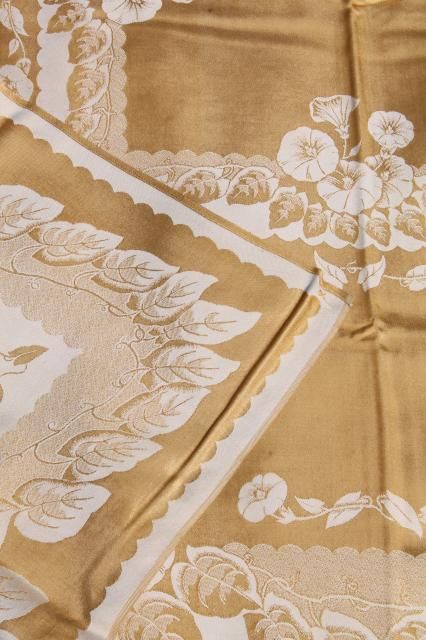 Gold Amp White Floral Satin Damask Table Linens Vintage