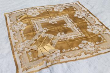 gold & white floral satin damask table linens, vintage tablecloth & napkins set