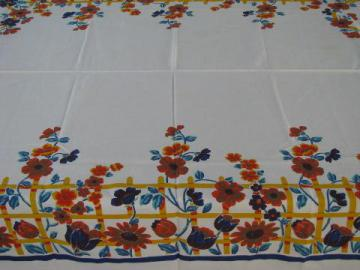 golden fall flowers, bright 40s-50s vintage print cotton tablecloth