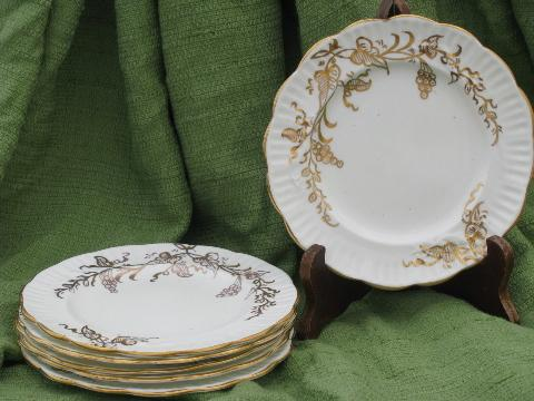 & golden grapes fluted china plates vintage white porcelain w/ gold