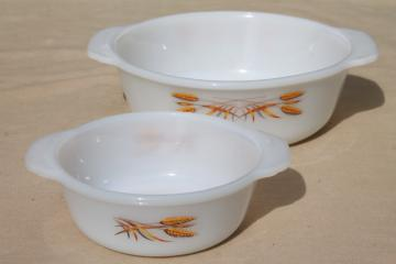 golden harvest gold wheat vintage Fire King milk glass casserole baking dishes