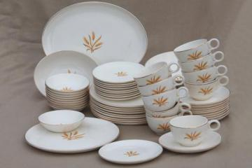 golden wheat dishes, vintage china set for 10 Taylor, Smith & Taylor dinnerware