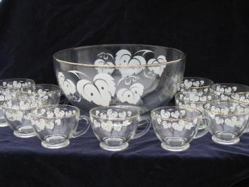 gooseberries print vintage glass punch bowl /set