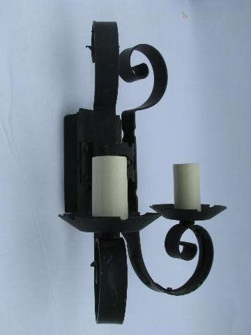 Medieval castle black wrought iron vintage twin light wall sconce lamp gothic medieval castle black wrought iron vintage twin light wall sconce lamp aloadofball Choice Image