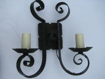 gothic medieval castle black wrought iron vintage twin light wall sconce lamp