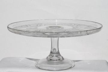 grand old cake stand, vintage pressed pattern glass pedestal plate diamond medallion