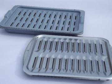 graniteware oven pans, enameled steel roasting / broiler pans w/ racks
