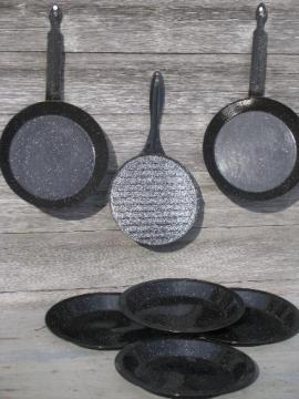graniteware spatter enamelware, campfire cookout pans and camping plates