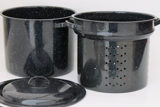 Graniteware Steamer Basket Stockpot Black Amp White