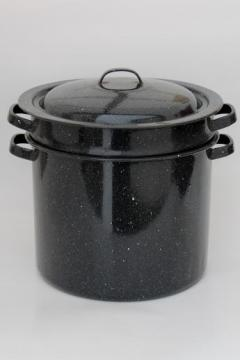 graniteware steamer basket stockpot, black & white spatterware enamelware