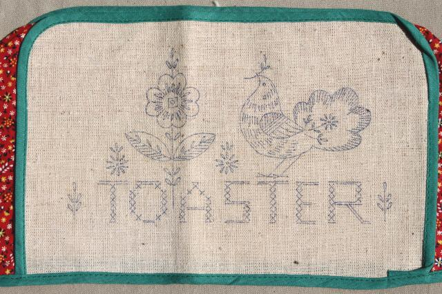 granny chic vintage cotton print toaster cover to stitch, kitchen linens to embroider