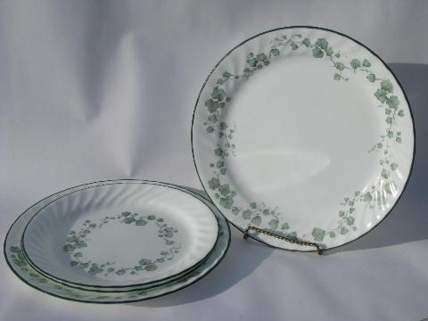 green Callaway Ivy pattern Corelle Corning glass dishes dinner u0026 salad plates lot & green Callaway Ivy pattern Corelle Corning glass dishes dinner ...